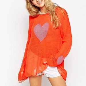 WILDFOX WHITE LABEL | pink heart sweater sweater